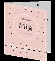 geboortekaartje-meisje-roze-kransje-stippen